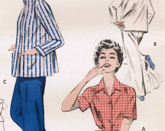 1950s Butterick 7054 UNCUT Vintage Sewing Pattern Misses' Tailored Pajamas Size 16 Bust 34