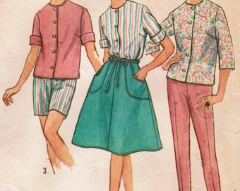 1960s Simplicity 4949 Vintage Sewing Pattern Misses' Blouse, Wrap Skirt, and Pants Size 14 Bust 34