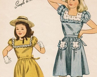 1940s Simplicity 4999 Vintage Sewing Pattern Girls' Party Dress, Summer Dress Size 8