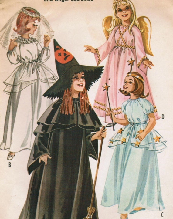 1960s McCall's 6514 UNCUT Vintage Sewing Pattern Girl's Witch, Bride, Fairy, and Angel Costumes Size Medium