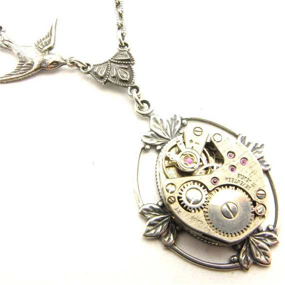 Steampunk Silver Floating Leaf Gearworks Necklace