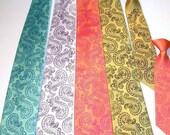 Men necktie - Set of 3  custom colors Octopus Paisley print to order neckties