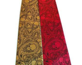 Mens necktie - Red microfiber necktie black paisley skull design.