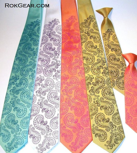 mens neckties for your wedding - set of 5 ties, print to order 59 necktie colors available