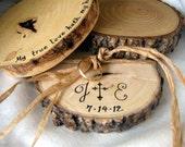 RUSTIC RING BEARER Pillow Personalized Ring Bearer Pillow Custom Wood Ring Holder Shabby Chic Ring Bearer Pillow Rustic Wedding Wood Slice