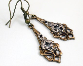 Intricate Silver and Bronze Earrings