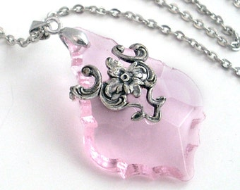 Pale Pink French Cut Prism in Silver Filigree Necklace - Glass Crystal Jewellery