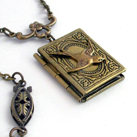 Bronze Book Locket - Secrets of Flight - Necklace Jewelry
