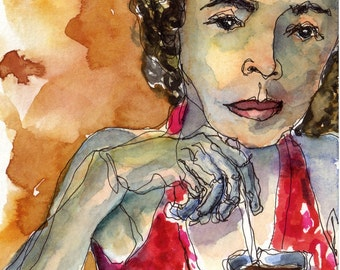 Art Watercolor Painting Curly Haired Woman Drinking Tea Jamaica Alfred's Ocean Palace Print