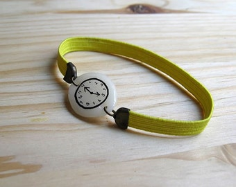 YELLOW FLUOR Fake watch with elastic watchband bracelet. Porcelain toy clock