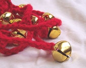 Jingle Bells Crochet Garland - Scarlet Red with Gold Jingle Bells... Simple Retro Christmas Garland Bunting Pennant Banner
