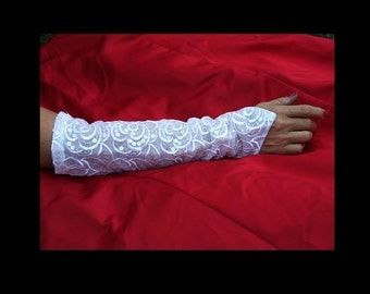 White Embroidered French Net Sleeves