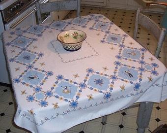 Vintage Tablecloth Adorable Boy & Girl Garden in Diamonds