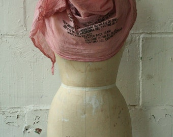 Dirty Pink Text Scarf, Printed Scarves,  Cotton Scarves, Fashion Accessories