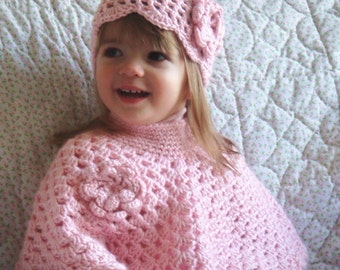 Pink Baby Poncho and Hat, Little Girls Poncho Set, Crochet Toddler Poncho, Baby Girls Poncho Size  1-2 T
