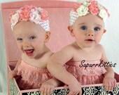 Baby Flower Headband in Pink/White - Newborn Headband - Baby Crochet Flower Headband Photo Prop - Rose Headband
