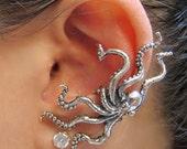 Octopus Ear Cuff Silver Kraken Ear Cuff Octopus Jewelry Kraken Jewelry Tentacle Earring Tentacle Jewelry Steampunk Ear Cuff Kraken Jewelry