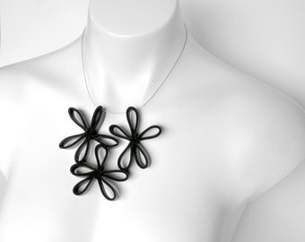 Flower power necklace, black daisy necklace, modern jewelry
