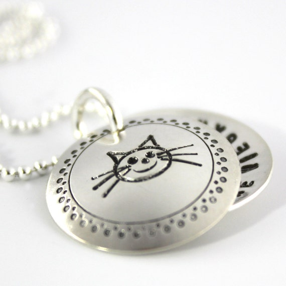 Cat Lover's hand stamped and personalized sterling silver faux locket