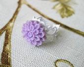 Purple Flower Ring White Filigree
