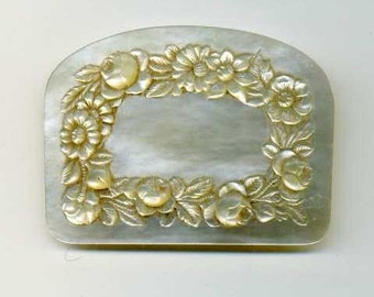 Vintage - HANDCARVED MOTHER of PEARL Flowers and leaves Purse, Victorian - one part, front - embossed leaves and flowers - french work