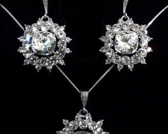 Crystal Bridal Jewelry Set, Geometric Wedding Earrings, Dangle Bridal Earrings, Drop Bridal Necklace, Swarovski Wedding Jewelry, ZURICH