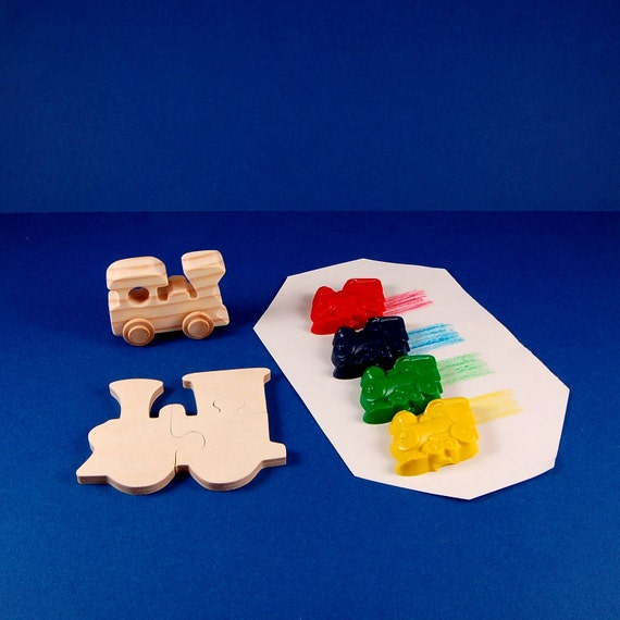 Train Party Favors - Deluxe Gift Package - Wood Toy Train - Train Shaped Crayons - Wooden Train Puzzle - Great for Kid and Toddler Partys