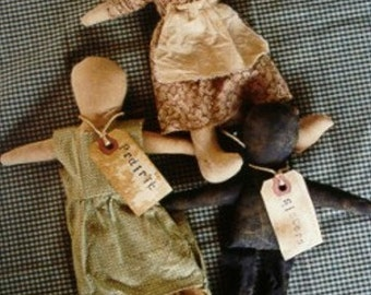 Primitive Doll Pattern Folk Art Prairie Sisters OFG Teams