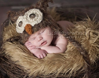 POPULAR Warm Newborn 3m Fuzzy Brown Owl Hat Photo Prop Crochet Baby Clothes Boys Girls Gender Neutral HALLOWEEN Costume CHRISTMAS Gift
