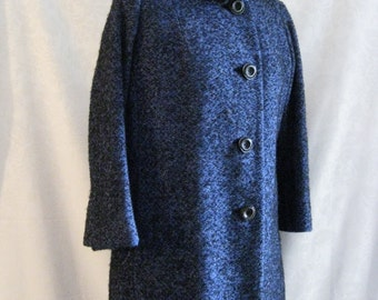 Midnight Blue Persian Lamb Fur Lined Coat and Skirt Suit Size Medium Vintage 50s