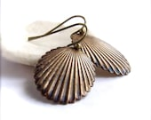 Navy Dangle Drop Earrings Rustic Patina Nautical Sea Shell Beach Fashion Jewelry