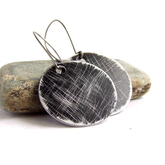 SALE - Black Textured Round Dangle Drop Earrings Silver Gunmetal Circle Crosshatch Boho Jewellery