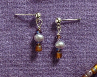 COMET Earrings With Freshwater Pearls, Swarovski Crystals & Czech Glass On Sterling Silver Posts   -On Sale-