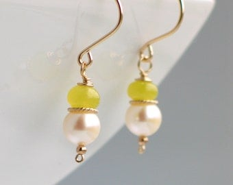 Chartreuse and White Pearl Dangle Earrings, Gold Filled and Yellow Green Stone White Freshwater Pearl Earrings, Pearl Classics