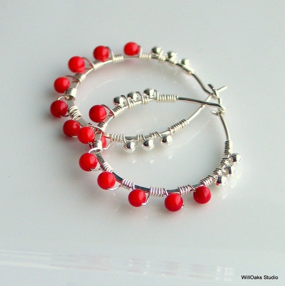 Red Coral Hoop Earrings, Sterling Hoops with Red Beads, Red Earrings, Patriot Red, True Red Earrings, Summer Gift for Her