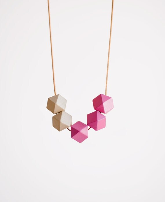 Geometric Necklace / Boho Necklace / Wooden Necklace/ Pink White Necklace
