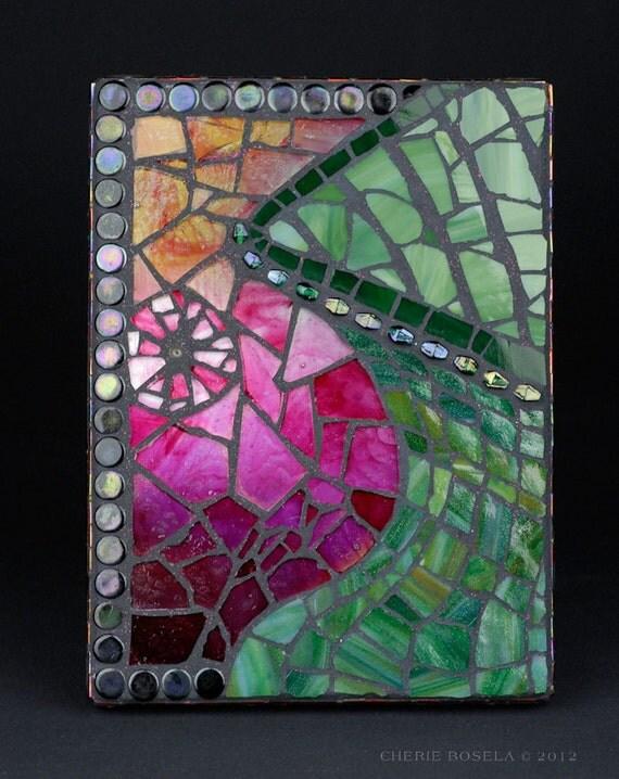 Mosaic Green Glass Vase - Wall hanging