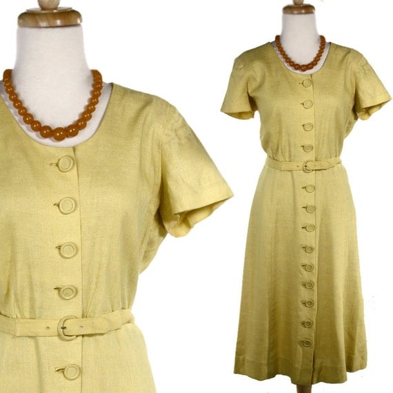 1950s Yellow Irish Linen Day Dress - Vintage Moygashel Linens Tailored by McMullen - size M / L