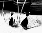 Black Cat Earrings. Cat Silver Earrings. Silver Hoops Earrings. Cat Jewelry. For Cat Lovers. Elegant Earrings. Minimal Jewelry.