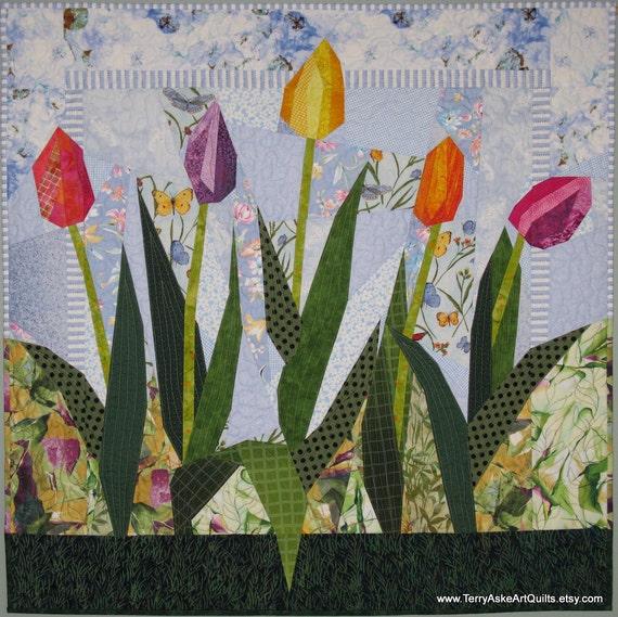 "Art Quilt Wall Hanging - ""Spring Beauties"" - Tulip Flower Garden - 35"" x 35"""