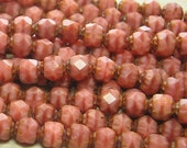 6mm Faceted Opaque Pink Coral Picasso Firepolished Czech Glass Beads - Qty 25 (D86)