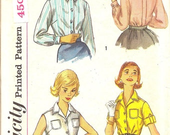 Vintage Sewing Patterns - 1960s - Blouse - Petite Simplicity 2470-  Mid Century