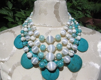 Statement Turquoise with Seafoam Vintage beads necklace from Japan two necklaces, three styles