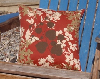 SUMMER SALE - Handmade Throw Pillow Cover, Pretty Red Floral Silhouette Accent Pillow Cover, Decorative Red Floral Outdoor Cushion Cover
