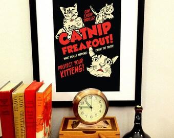 Catnip Freakout Art Print -- 11x17