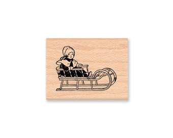 Vintage Sled Rubber Stamp~Sled and little girl~Winter Season~Snow Fun~Holiday and Christmas Stamp~Wood Mounted ~Mountainside Crafts (16-13)