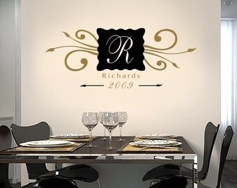 Family Name Decal, family established sign, personalized family vinyl decal, vinyl wall monogram, custom last name