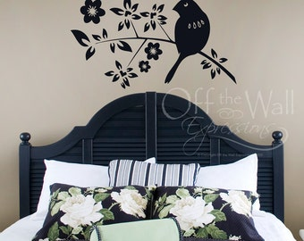 Bird on a branch vinyl decal, nursery wall, nature decor, tropical porch, bedroom sticker