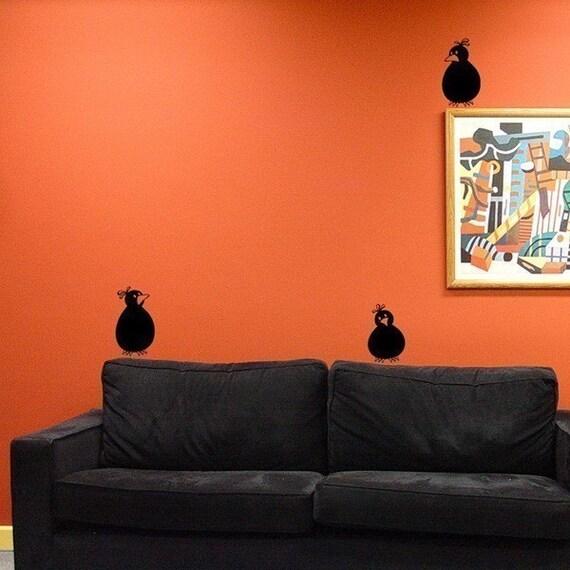 Three Bird Wall decals - set of birds vinyl wall art - funky birds - cute bird decals