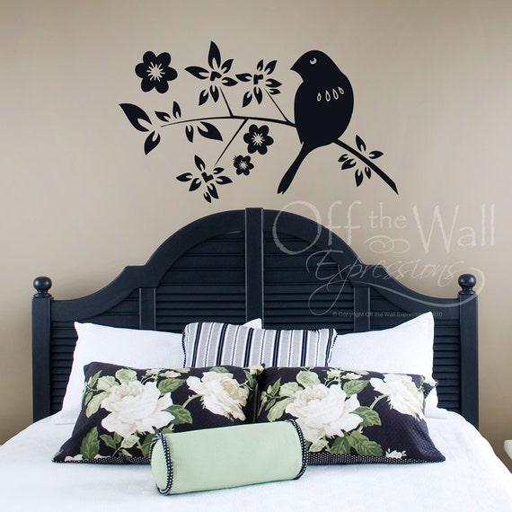 Bird on a branch wall decal, bird silhouette for nursery, bird branch for master bedroom, office decor